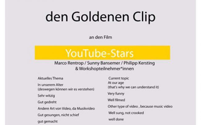 """Goldener Clip REC Filmfestival für Musikparodie """"YouTube- Stars"""""""